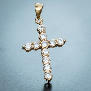 Small Cz Solitaire 18K Gold Plated Cross Pendant